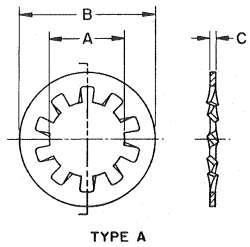 Internal Shakeproof Lock Washer Drawing