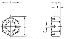 Slotted Hex Nut Drawing